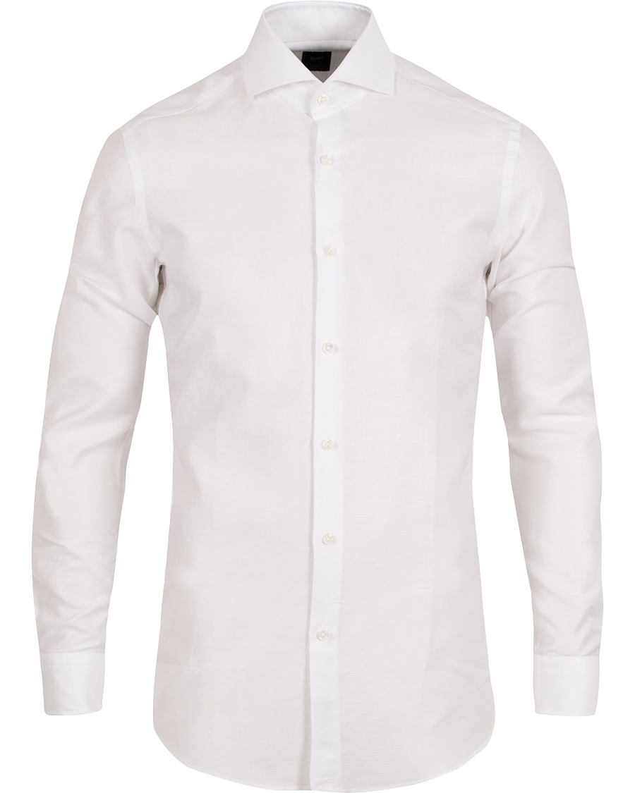 Boss tailored christo slim fit linen shirt white hos for Slim fit white linen shirt