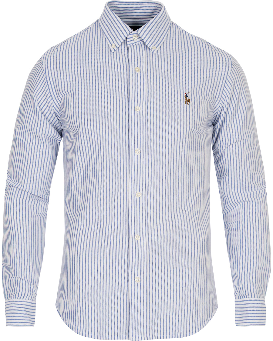 Polo ralph lauren slim fit knit oxford stripe shirt white for Polo ralph lauren striped knit dress shirt