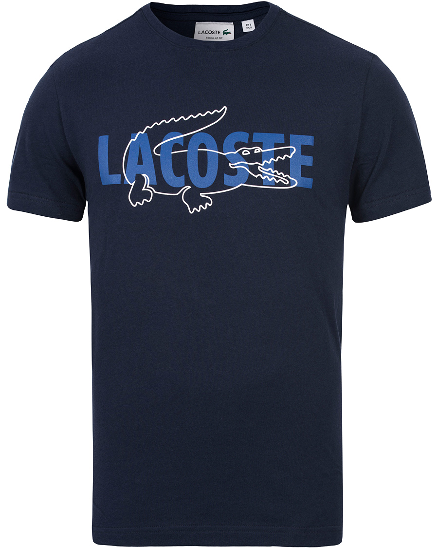 Lacoste logo print tee navy hos for Shirts with logo print