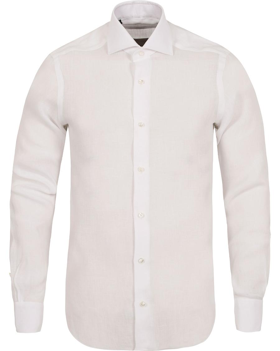 Barba napoli slim fit linen shirt white hos for Slim fit white linen shirt