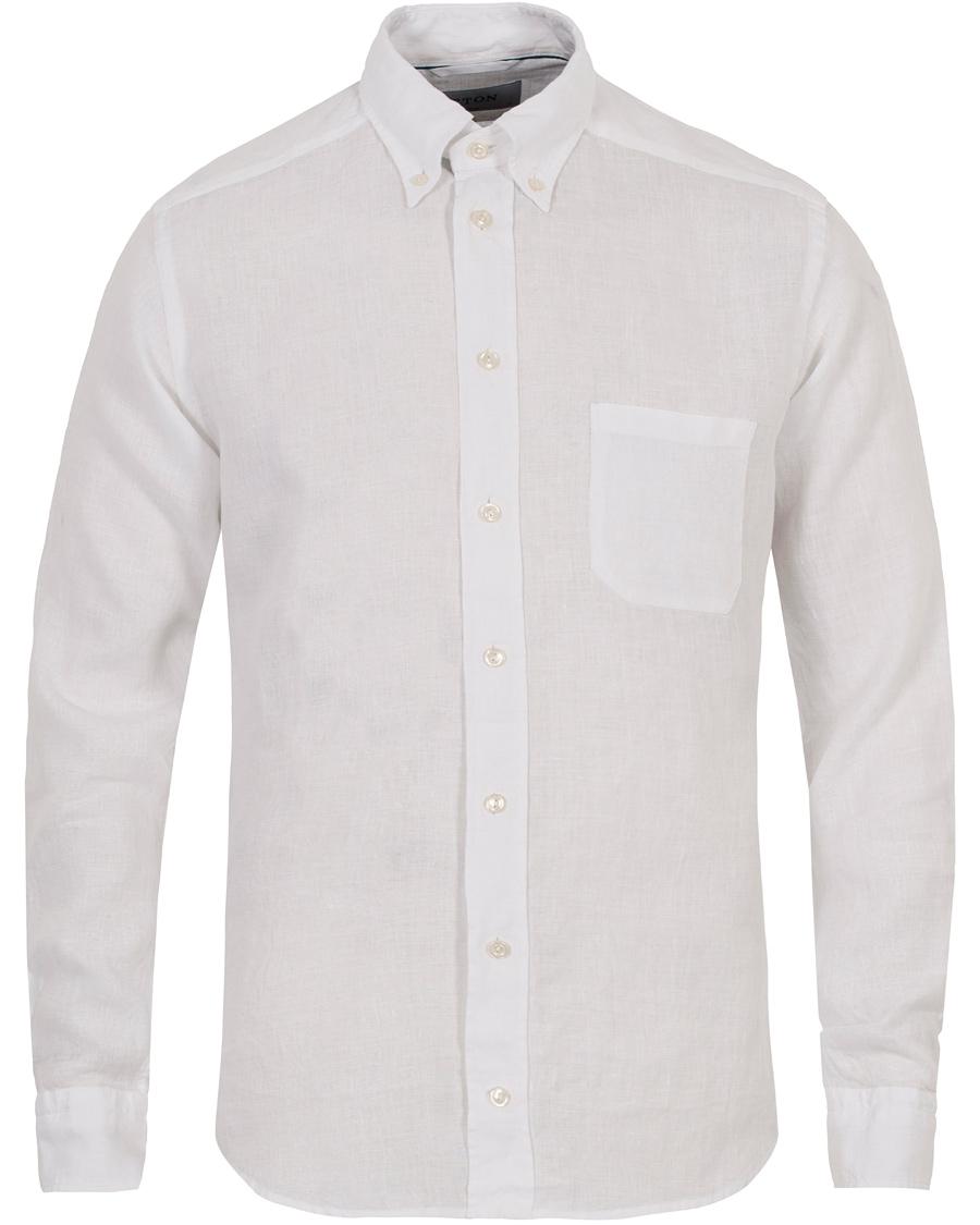Eton slim fit button down linen shirt white hos for Slim fit white linen shirt