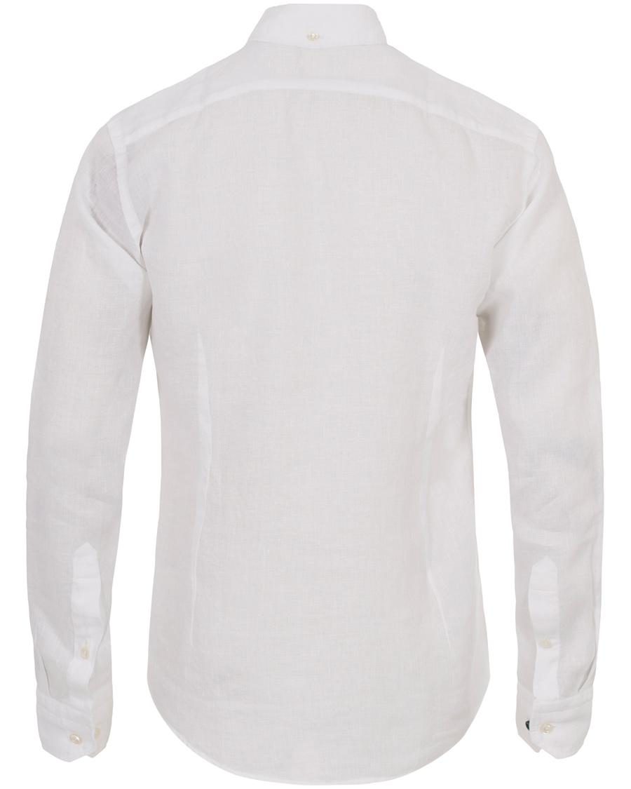 Eton Slim Fit Button Down Linen Shirt White Hos