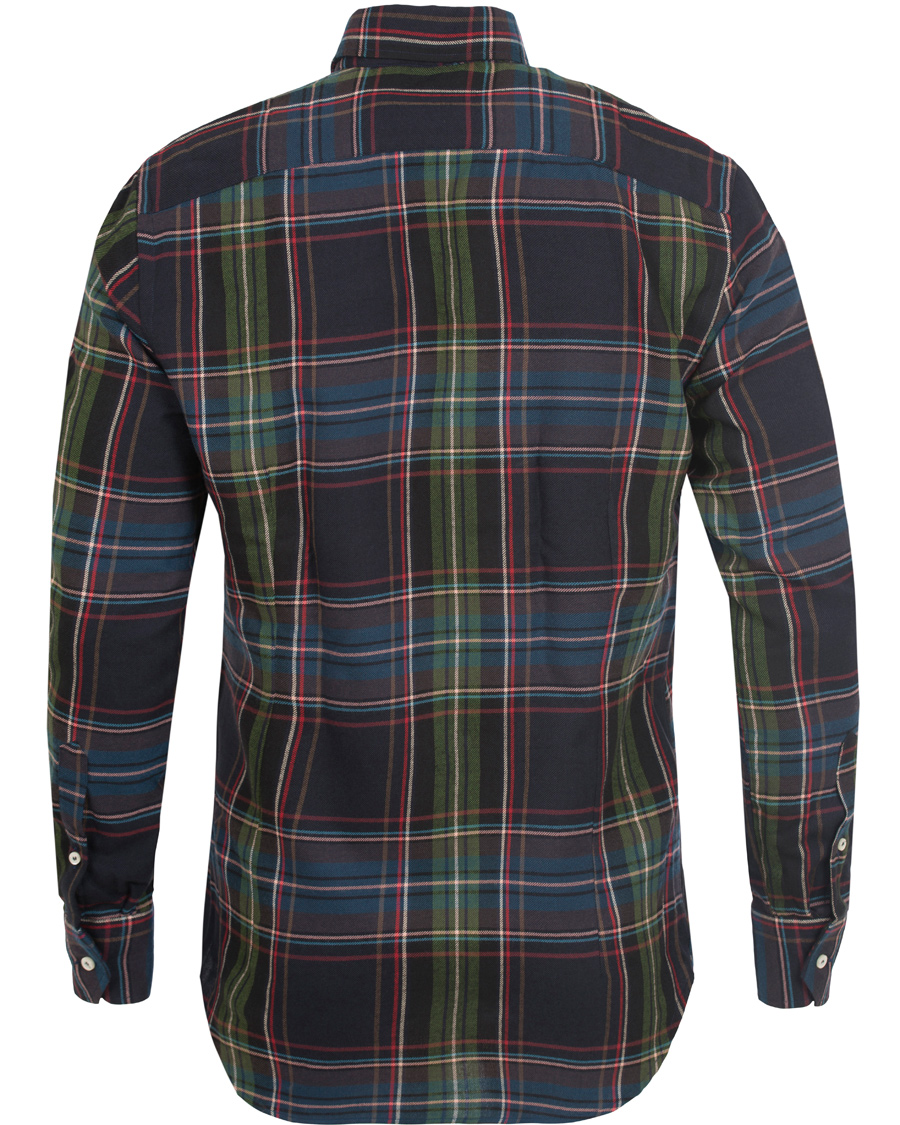 Etro slim fit checked flannel shirt dark blue hos for Trim fit flannel shirts
