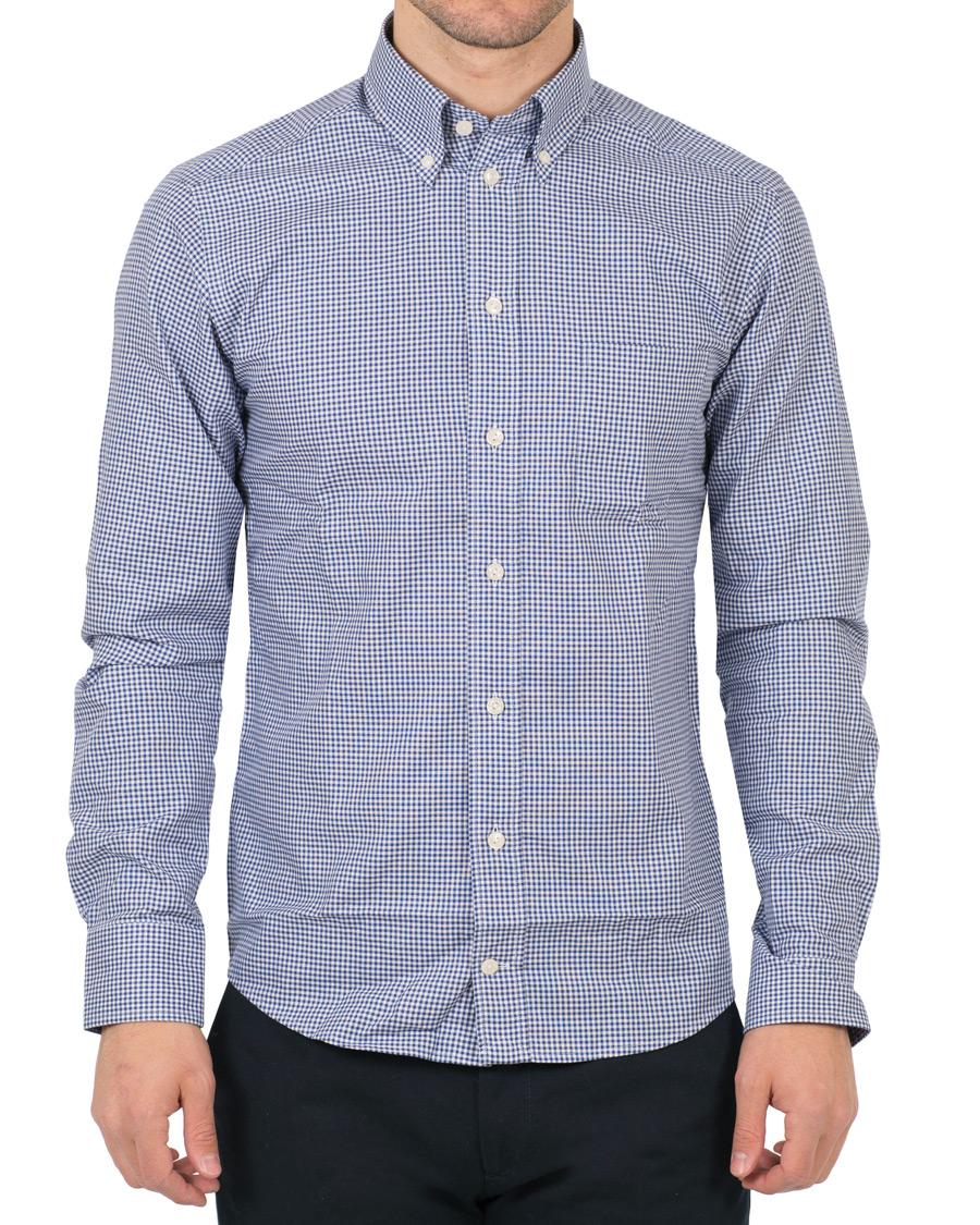 Eton slim fit button down check shirt blue hos for Slim fit check shirt