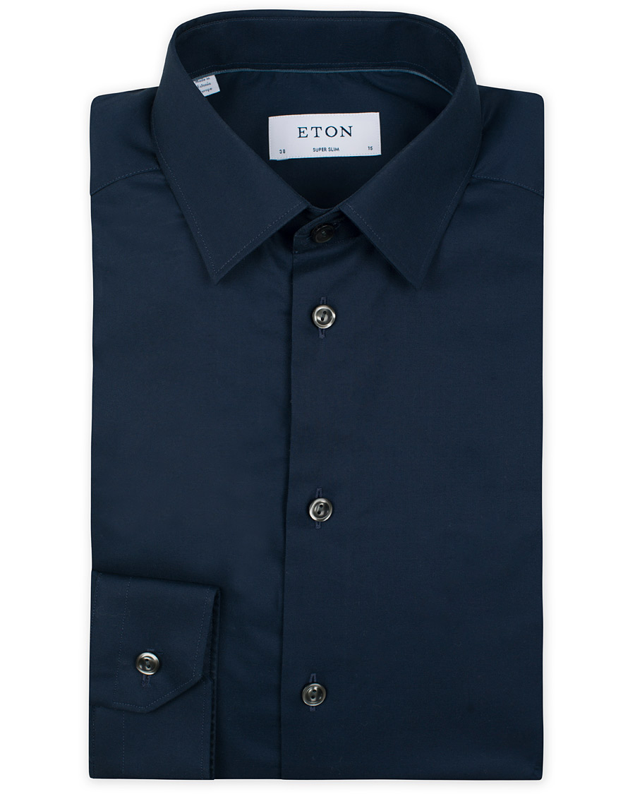 Eton super slim fit stretch shirt navy hos for Navy slim fit shirt