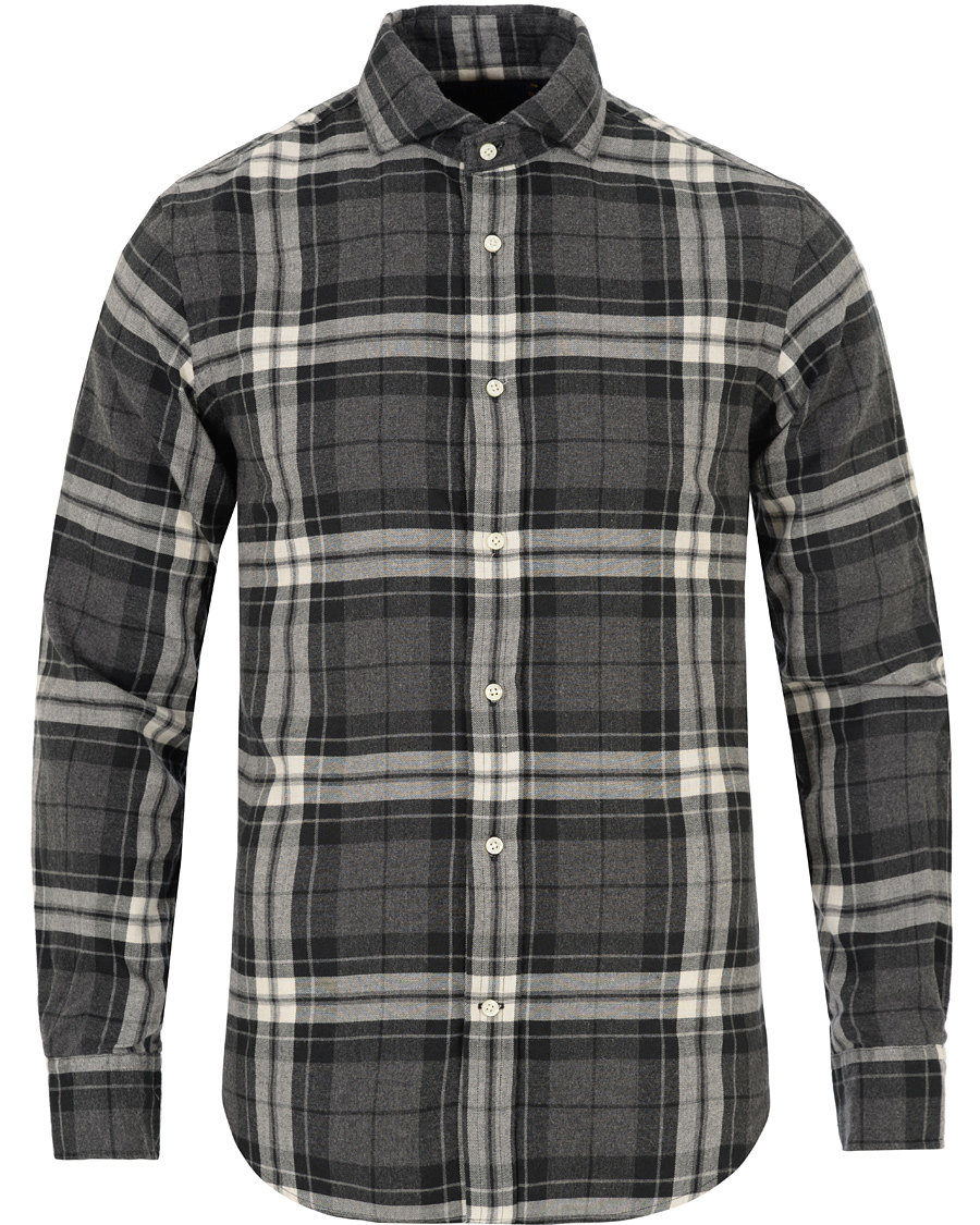 Polo ralph lauren slim fit flannel check shirt charlcoal for Trim fit flannel shirts