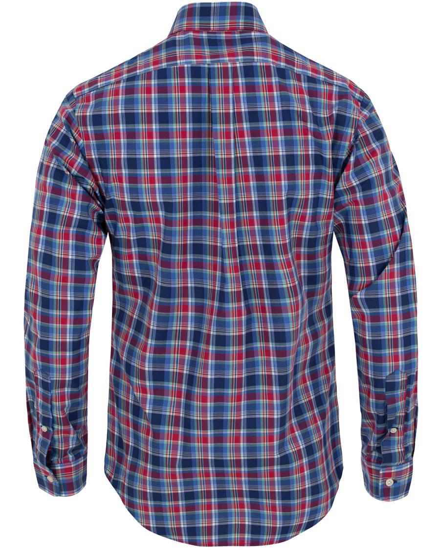 Polo ralph lauren slim fit check poplin shirt brick red for Slim fit check shirt
