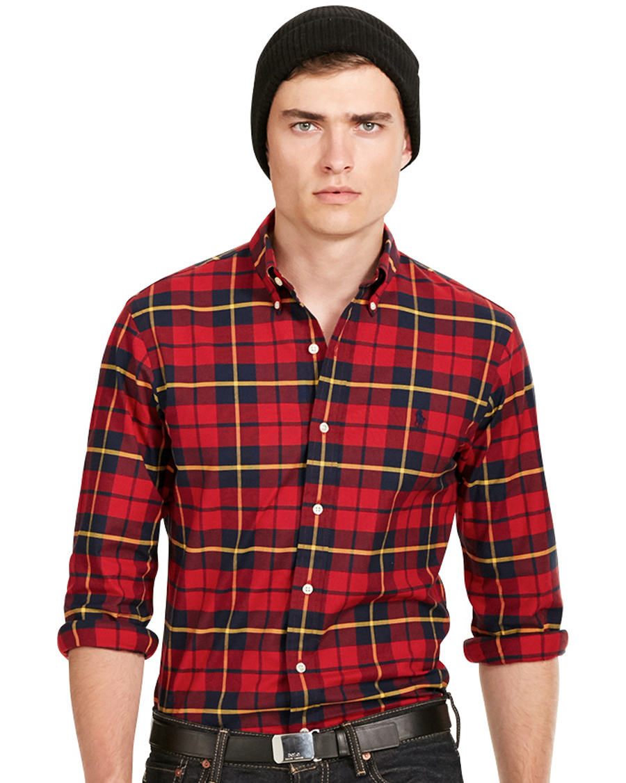 Polo ralph lauren slim fit stretch oxford check shirt red for Slim fit check shirt