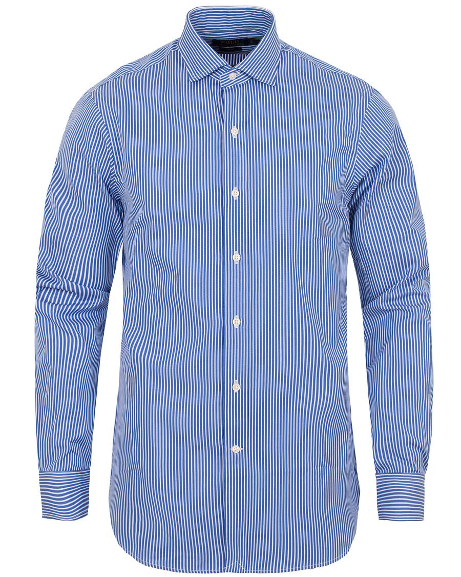 Polo ralph lauren slim fit estate dress shirt blue white for Blue white dress shirt