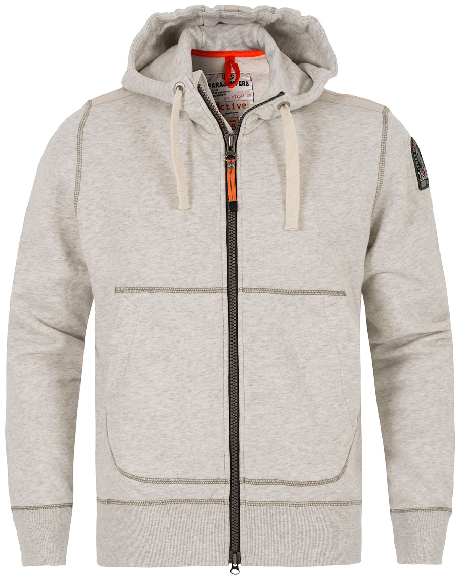 Parajumpers Charlie Active Fleece Hoodie White Melange Slub