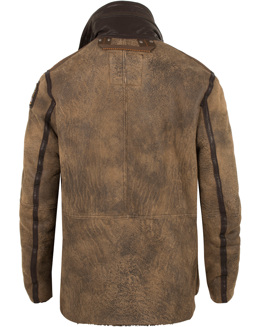Parajumpers Steven Shearling Leather Jacket Brown