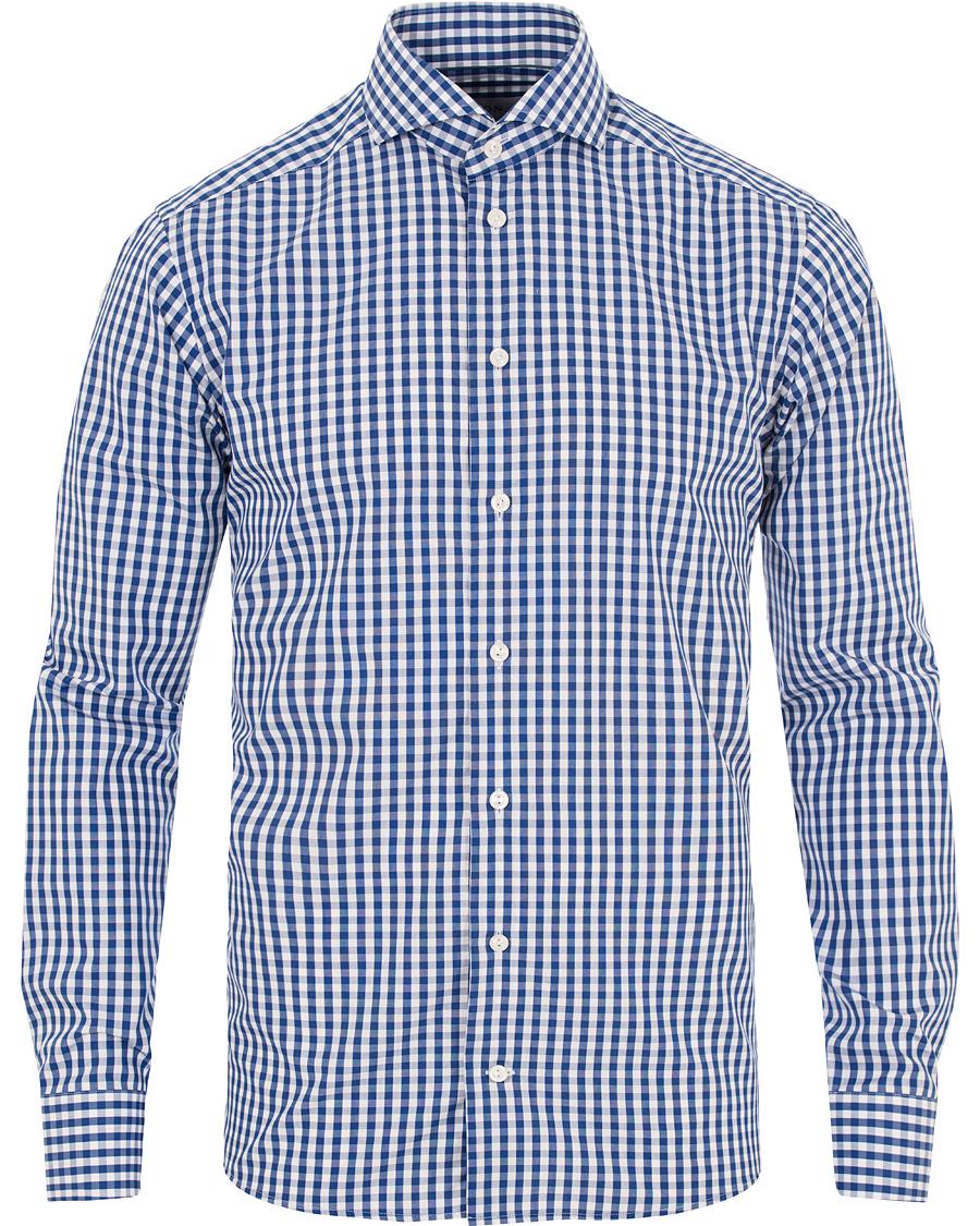 Eton slim fit poplin check shirt blue hos for Slim fit check shirt