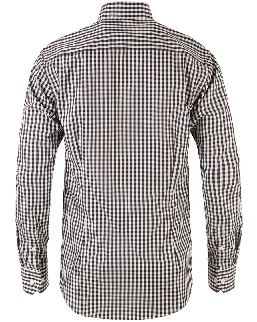 Eton slim fit check poplin shirt black hos for Slim fit check shirt