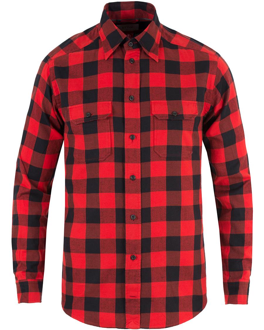 Eton slim fit flannel check shirt red hos for Slim fit check shirt
