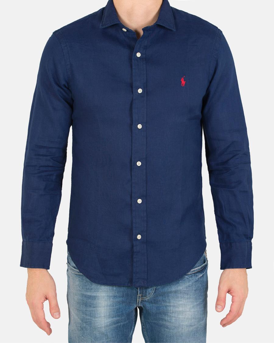Polo ralph lauren slim fit linen shirt holiday navy hos for Navy slim fit shirt