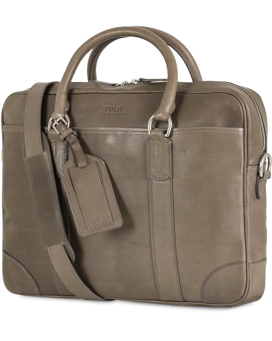 16e35cfbc8af Polo Ralph Lauren Commuter Leather Bag Grey hos CareOfCarl.com