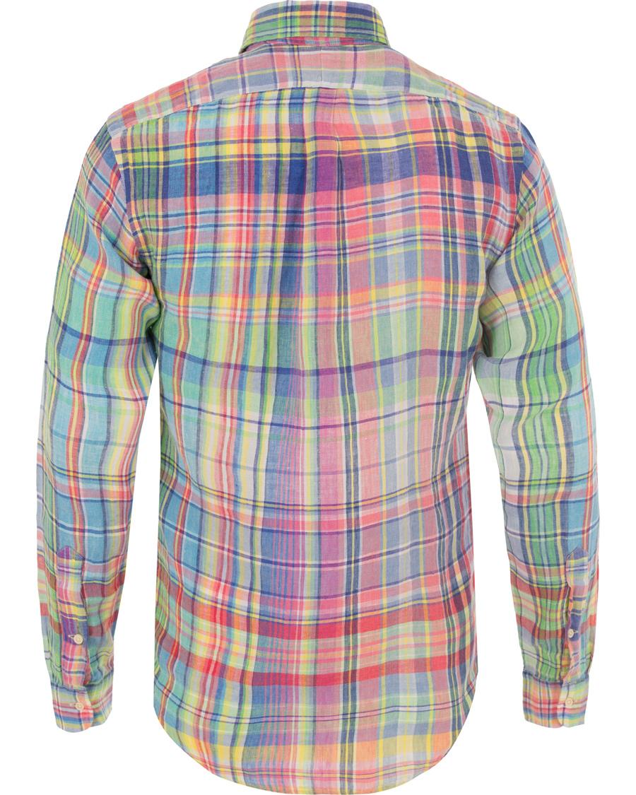 Polo ralph lauren slim fit linen check shirt chroma blue for Slim fit check shirt