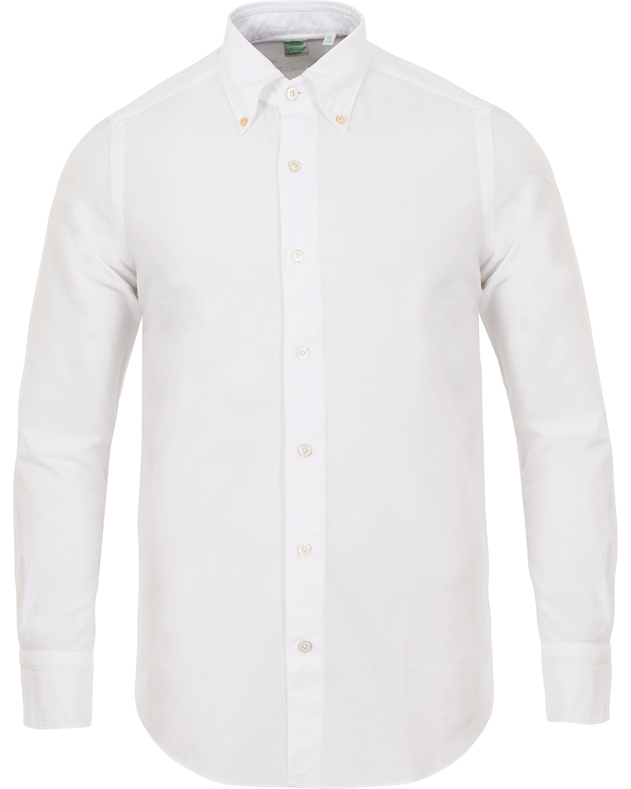 Finamore napoli slim fit oxford button down shirt white for Slim fit white button down shirt
