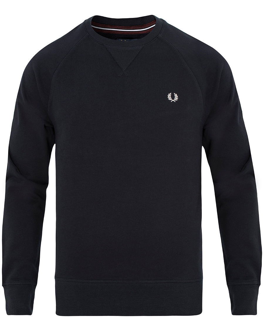 fred perry loopback crew sweat navy hos. Black Bedroom Furniture Sets. Home Design Ideas