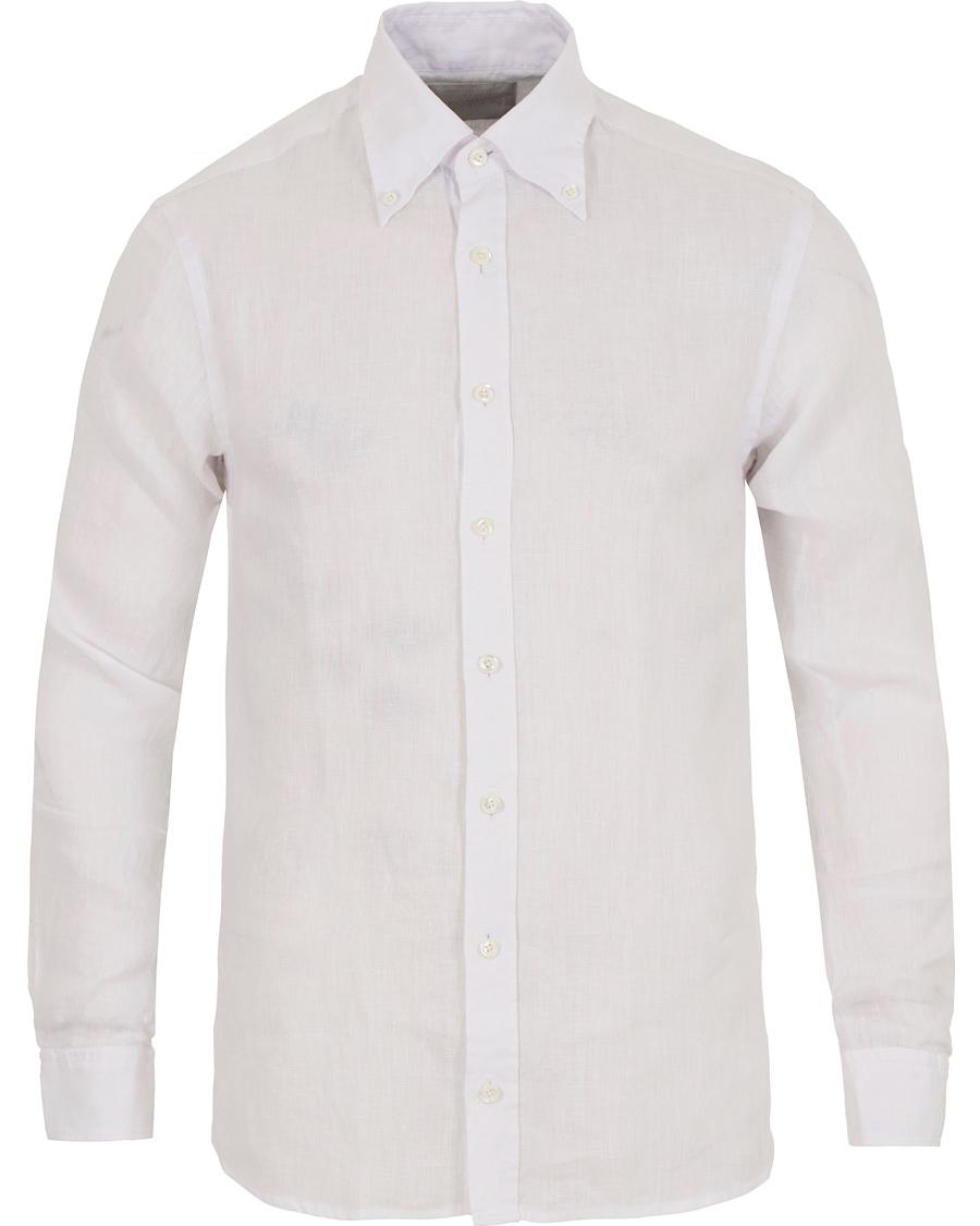 Oscar jacobson hubert 3 slim fit linen shirt white hos for Slim fit white linen shirt