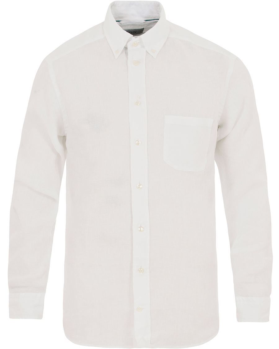 Eton slim fit linen button down shirt white hos for Athletic fit button down shirts