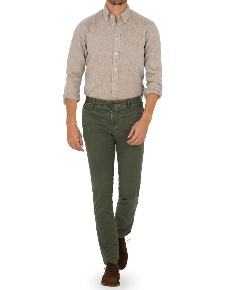 Eton slim fit linen button down shirt nature hos for Slim button down shirt