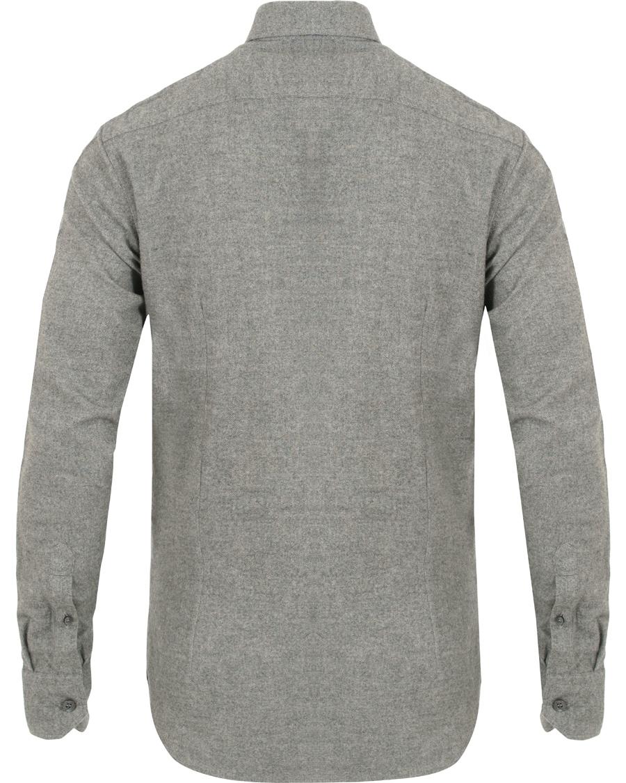 Etro slim fit mercurio flannel shirt grey hos for Trim fit flannel shirts