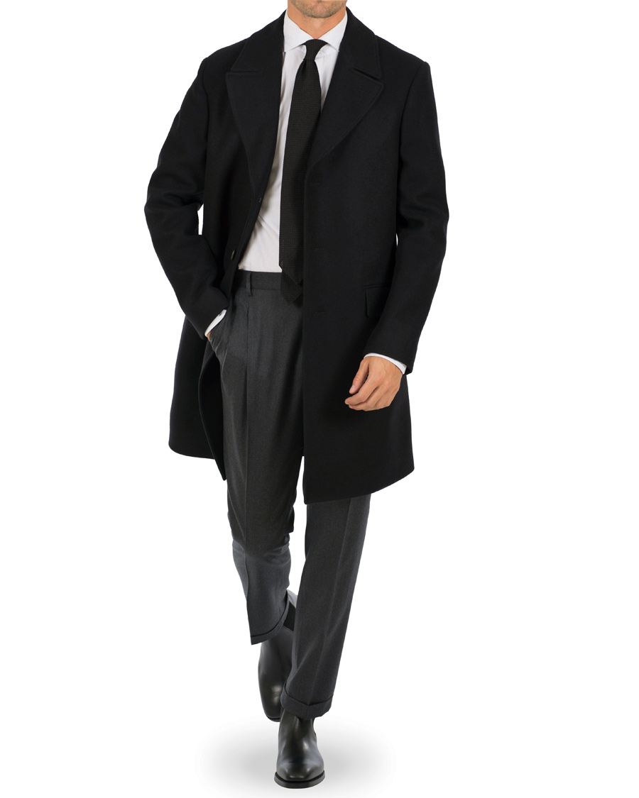 Gieves & Hawkes Wool Single Breasted Overcoat Black