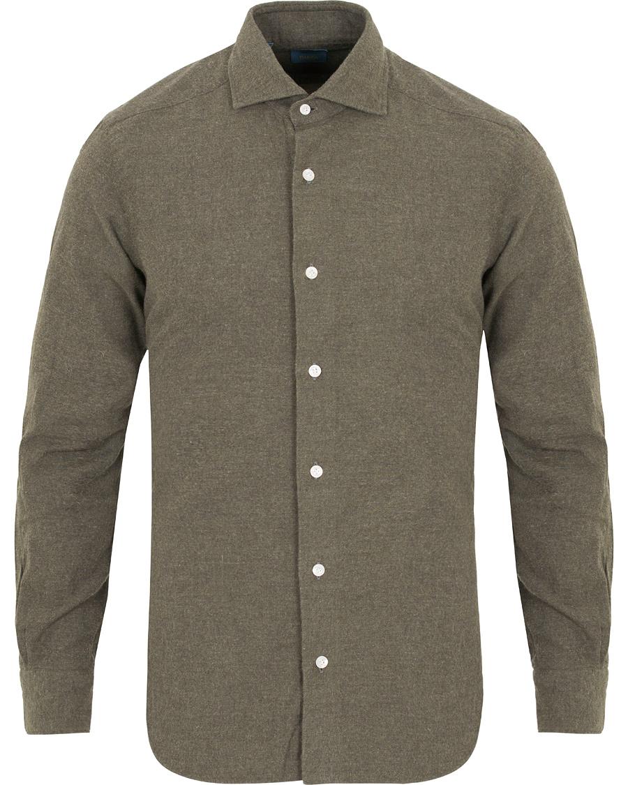 Barba napoli dandylife slim fit flannel shirt green hos for Trim fit flannel shirts