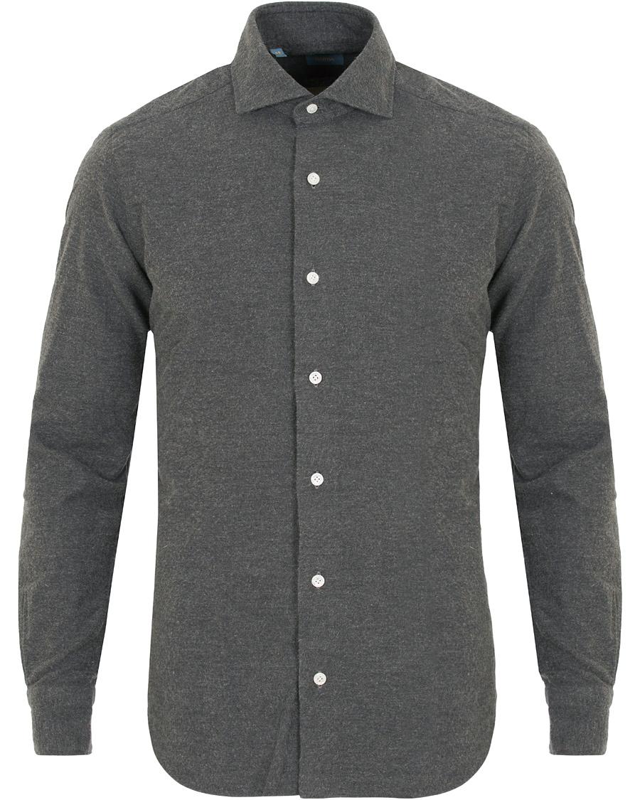Barba napoli dandylife slim fit flannel shirt grey hos for Trim fit flannel shirts