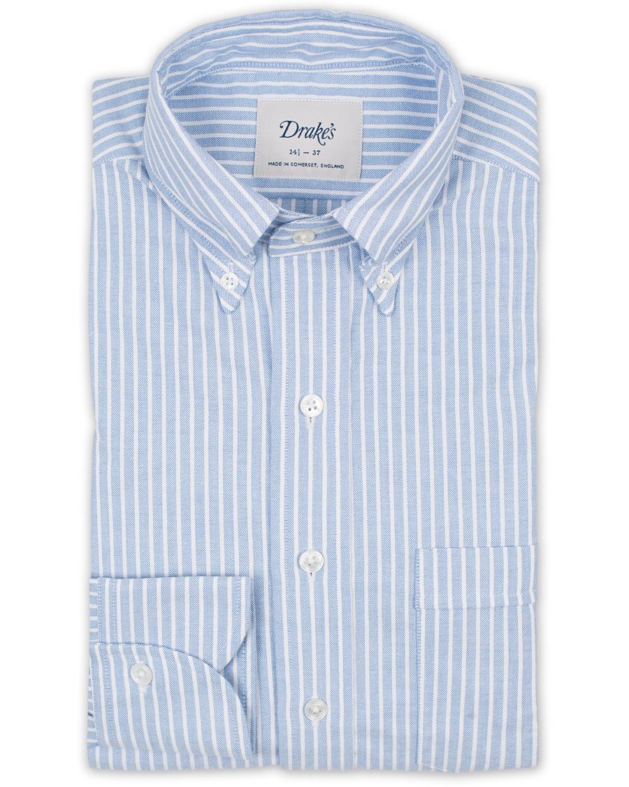 Drake 39 s slim fit stripe button down shirt white blue hos for Slim fit white button down shirt