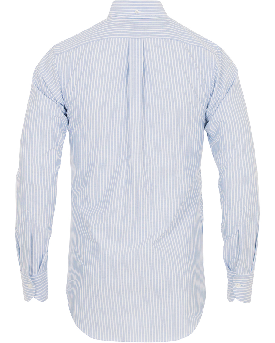 Drake 39 s slim fit stripe button down shirt white blue hos for Athletic fit button down shirts