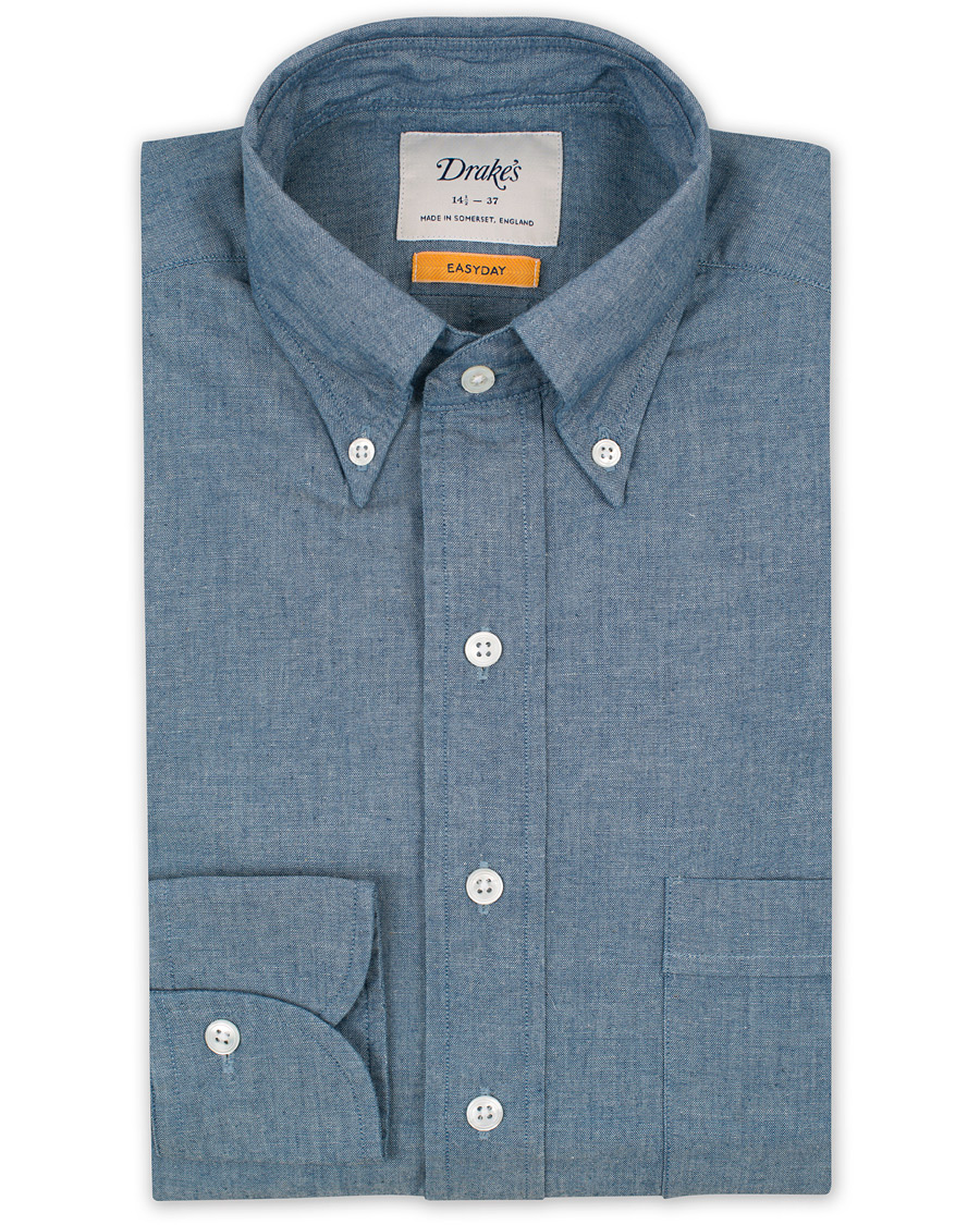 Drake 39 s slim fit chambray button down shirt light hos for Athletic fit button down shirts