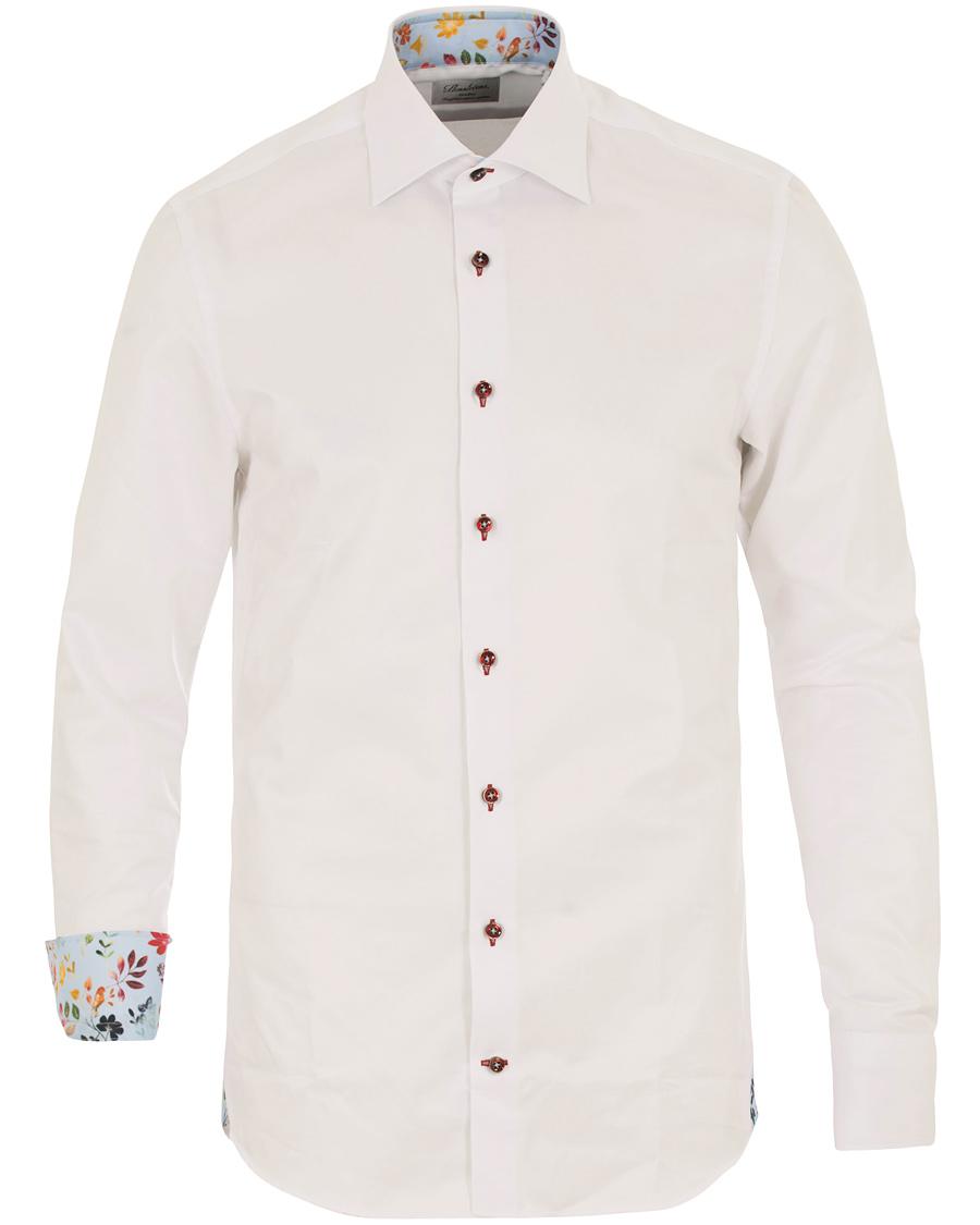 Stenströms Fitted Body Contrast Flower Shirt White hos CareOfCarl 57ddffcc4668c