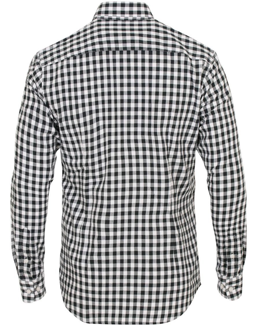 Boss rod slim fit check shirt white black hos for Slim fit check shirt