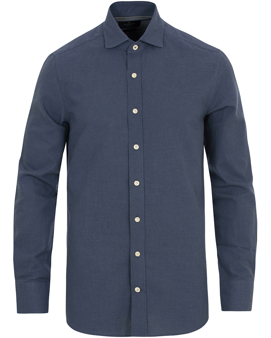 Hackett slim fit flannel shirt navy hos for Trim fit flannel shirts