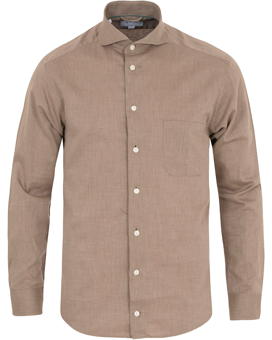 Eton slim fit flannel shirt brown hos for Trim fit flannel shirts
