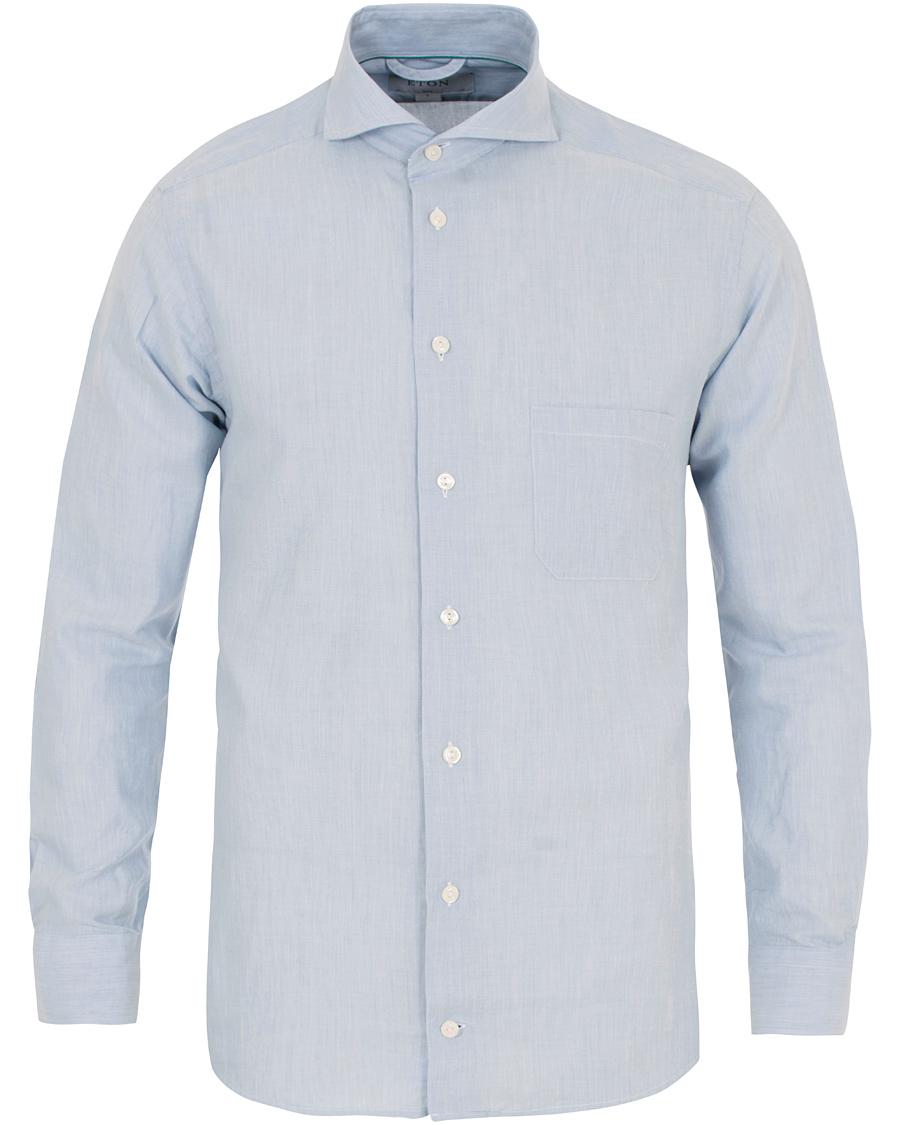 Eton slim fit flannel shirt light blue hos for Trim fit flannel shirts
