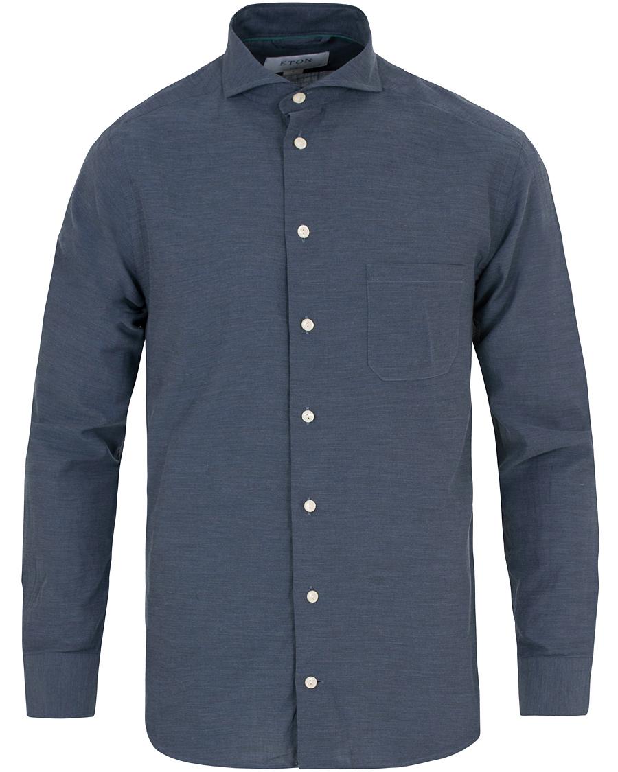 Eton slim fit flannel shirt dark blue hos for Trim fit flannel shirts