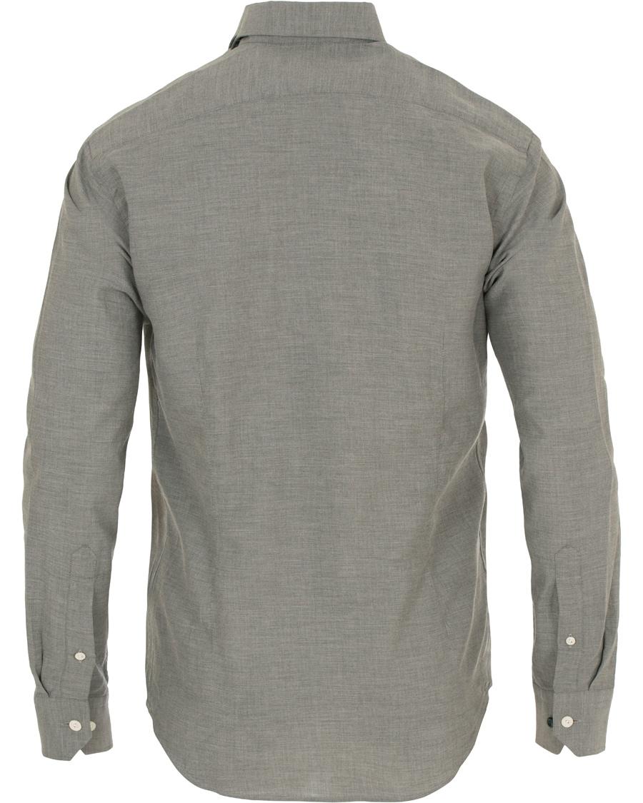 Eton slim fit flannel shirt light grey hos for Trim fit flannel shirts