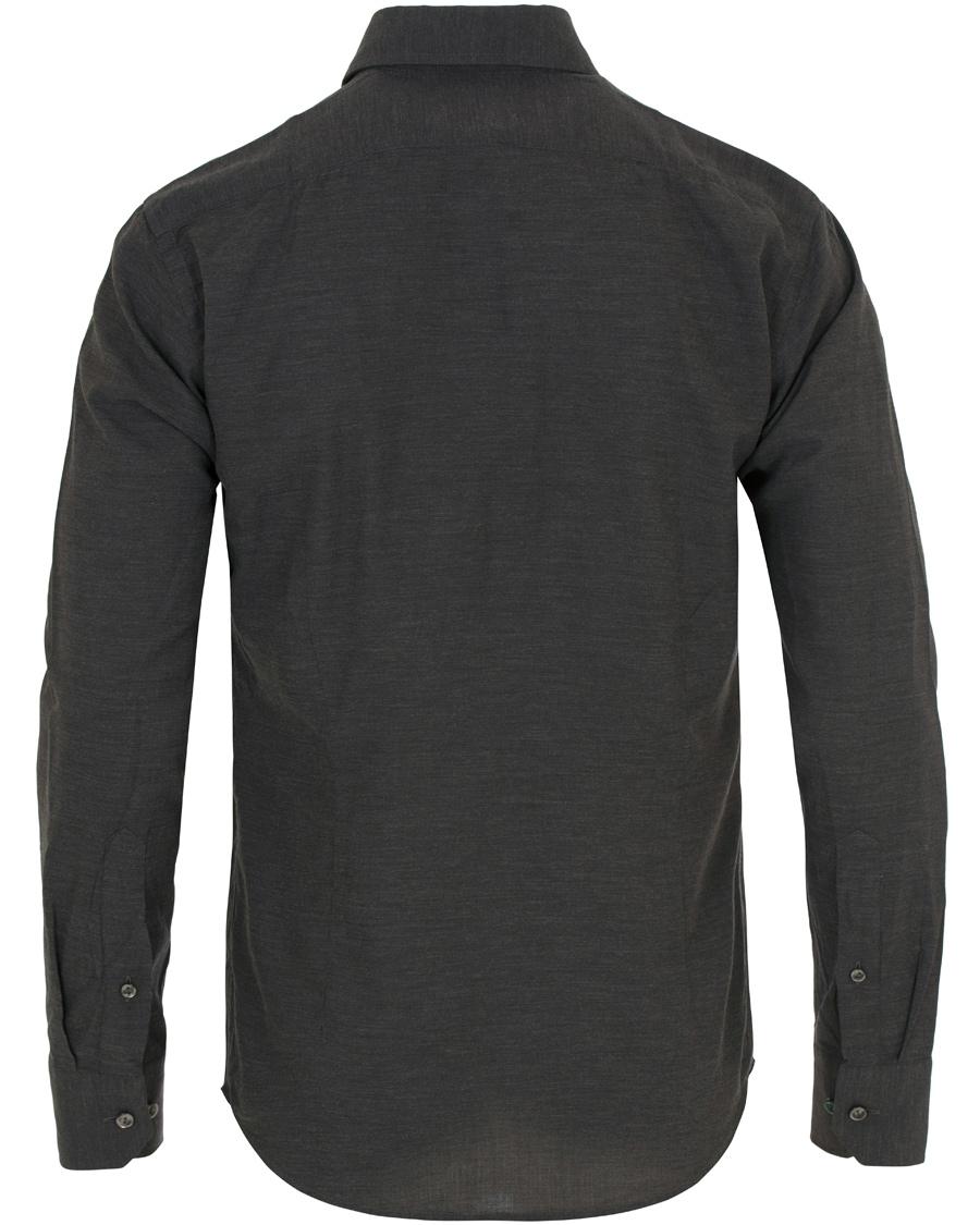Eton slim fit flannel shirt antracite hos for Trim fit flannel shirts