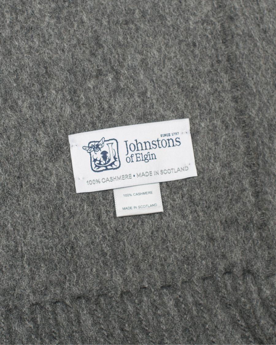 Johnstons of Elgin Cashmere Plain Scarf Dark Grey hos ...