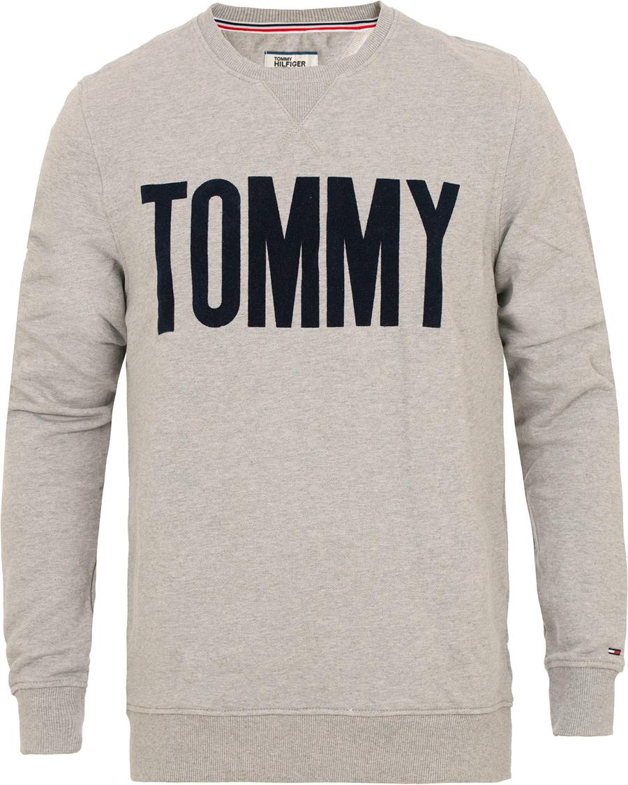 tommy hilfiger denim logo crew neck sweatshirt grey hos careofcar. Black Bedroom Furniture Sets. Home Design Ideas