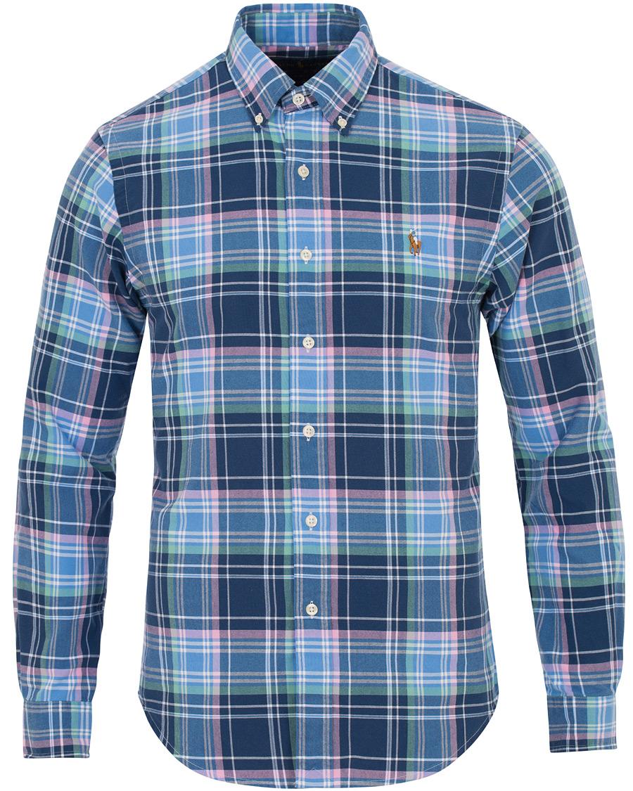 Polo ralph lauren slim fit oxford check shirt blue hos for Slim fit check shirt