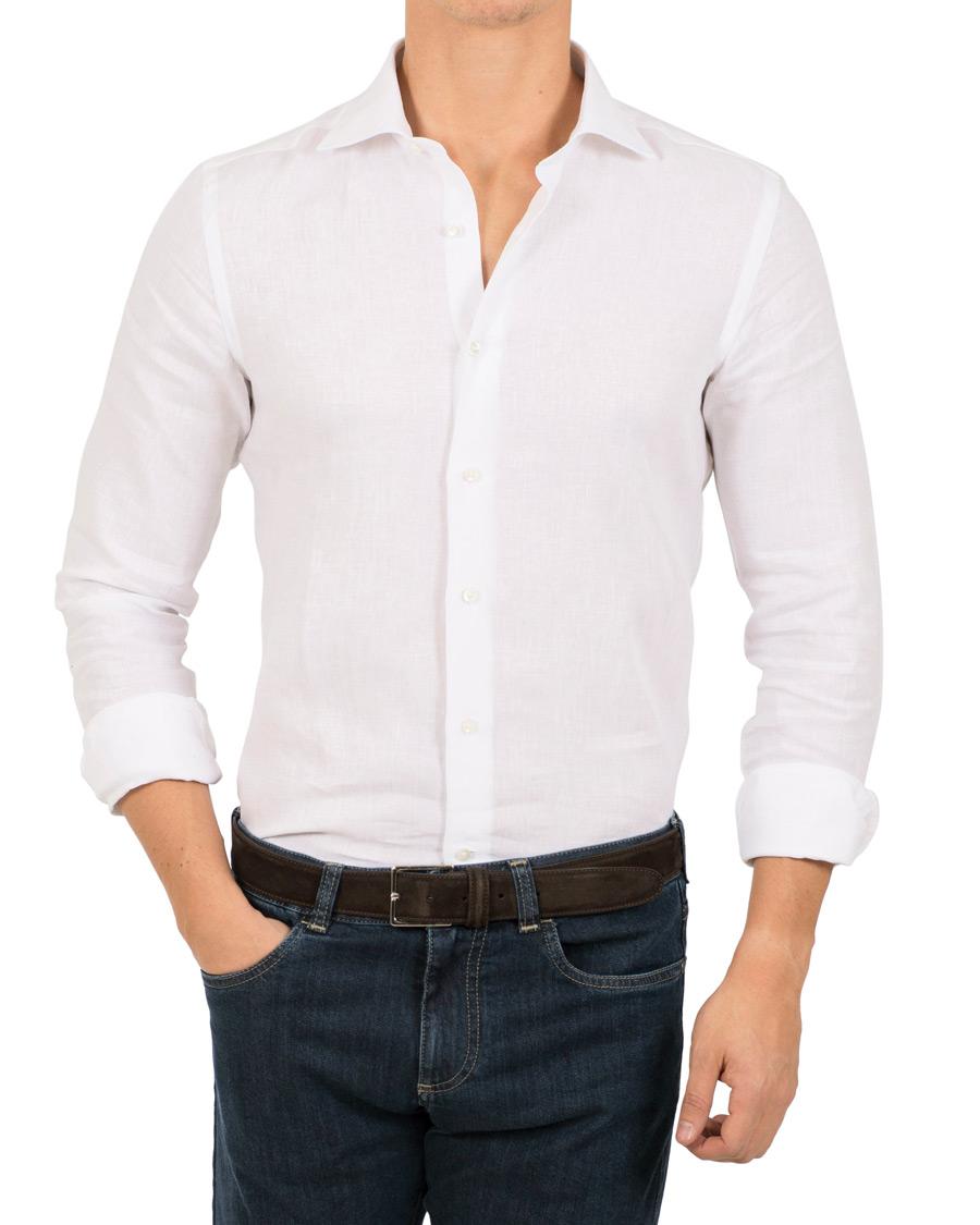 Canali slim fit linen shirt white hos for Slim fit white linen shirt