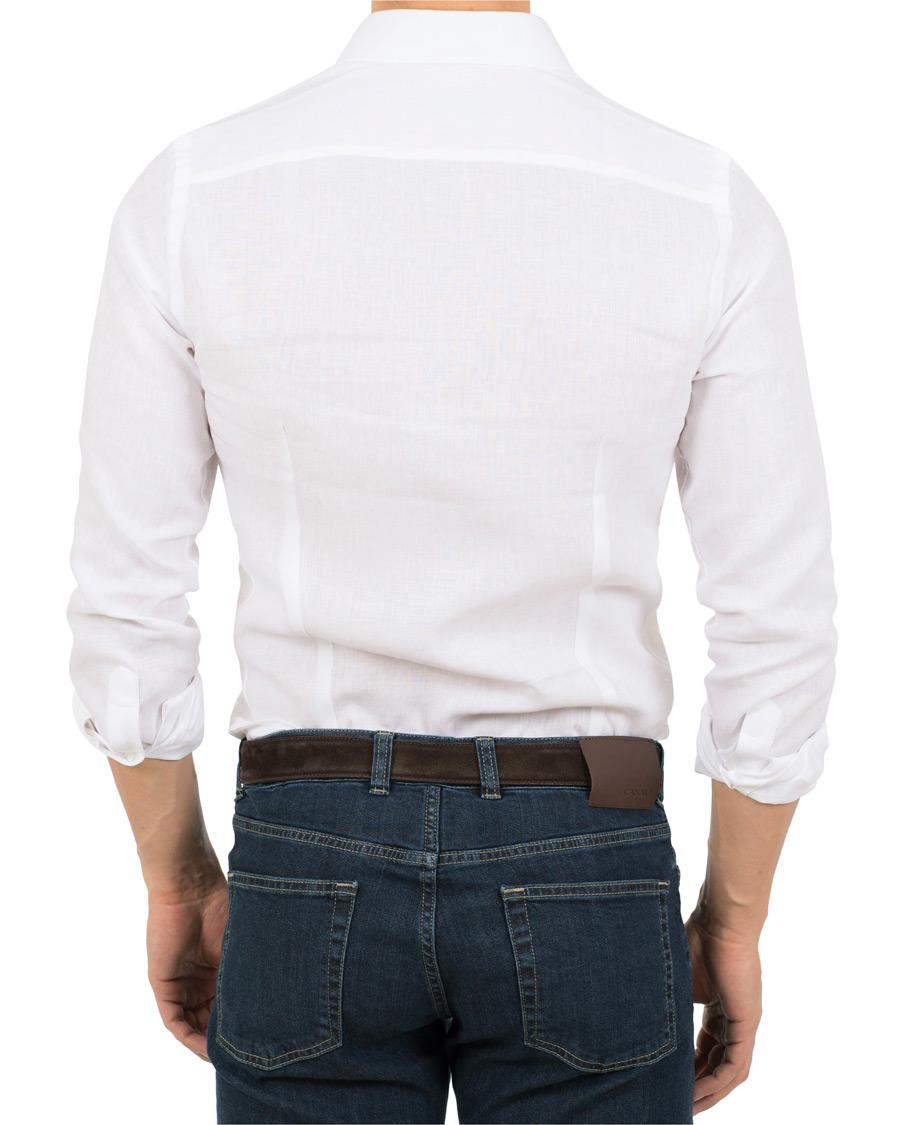 Canali Slim Fit Linen Shirt White Hos