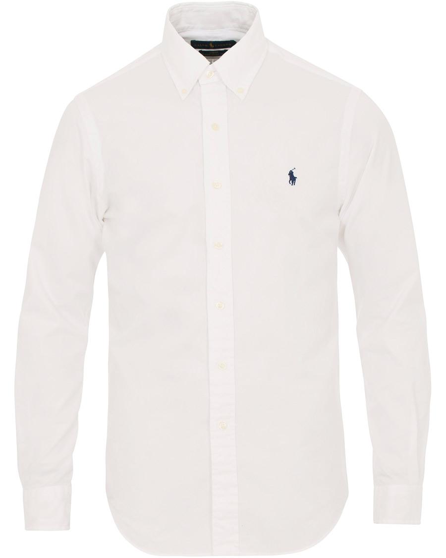 Polo ralph lauren slim fit chino button down shirt white for Slim fit white button down shirt