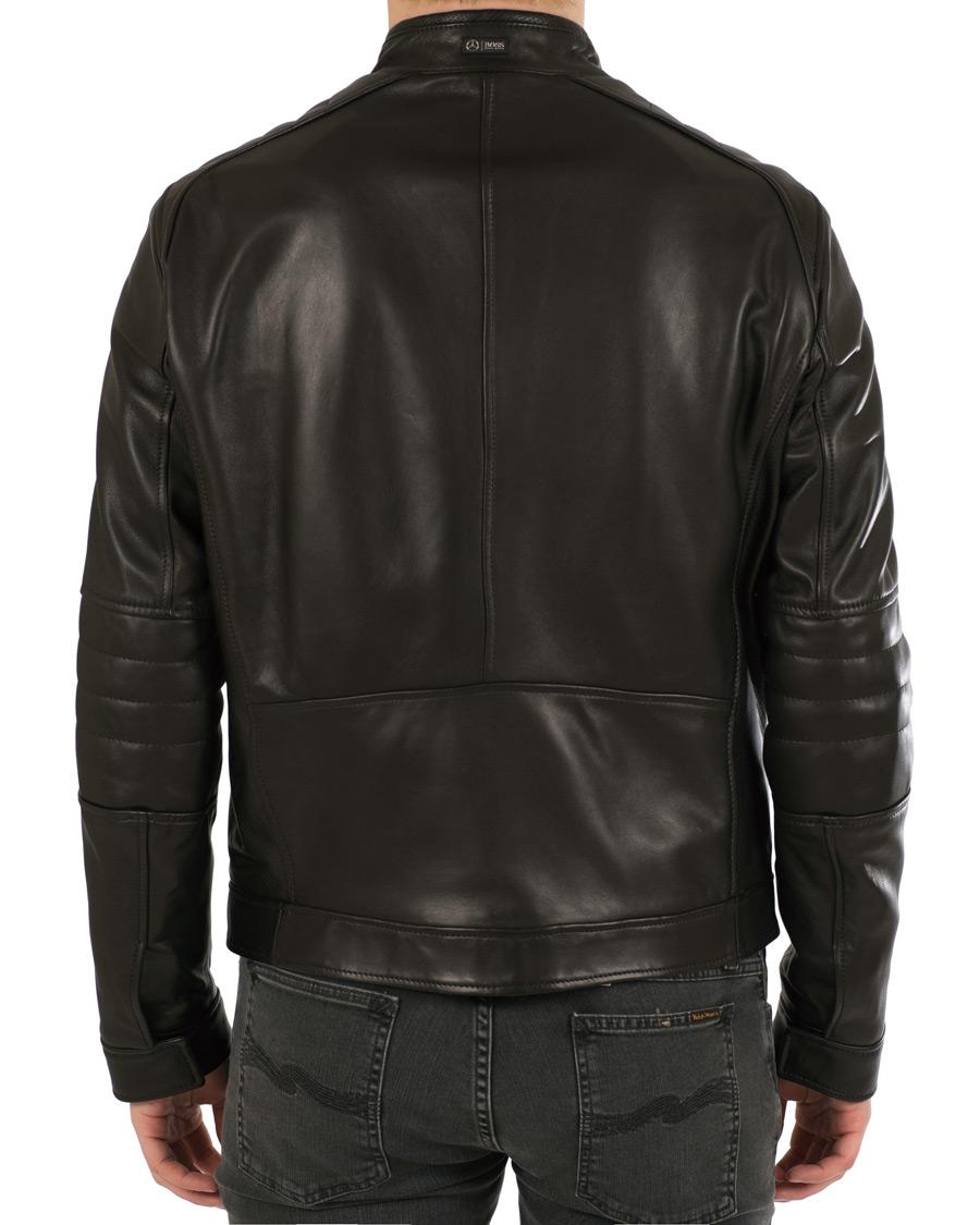 Boss nyvano leather jacket black hos for Mercedes benz leather jacket