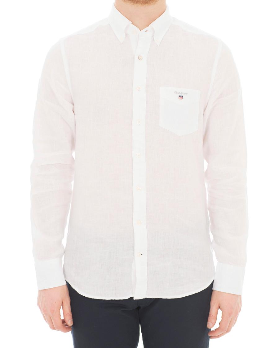 Gant slim fit linen shirt white hos for Slim fit white linen shirt