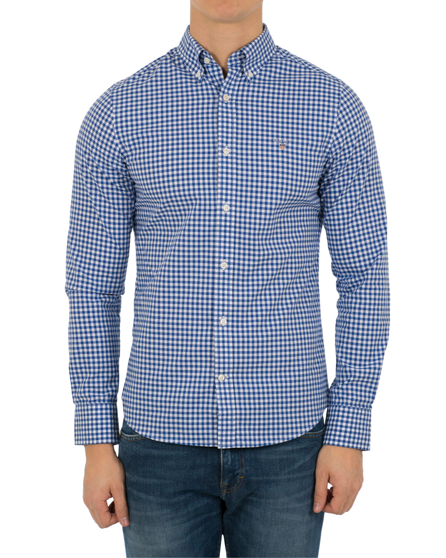 Gant slim fit poplin check shirt yale blue hos for Slim fit check shirt